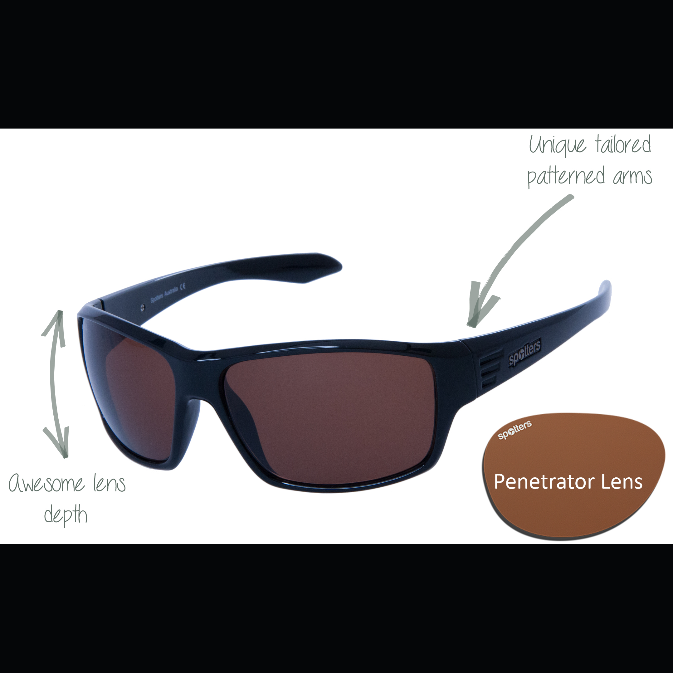 3267ca6461 Spotters Sunglasses - Blaze - Gloss Black Frame with Penetrator Lens ...