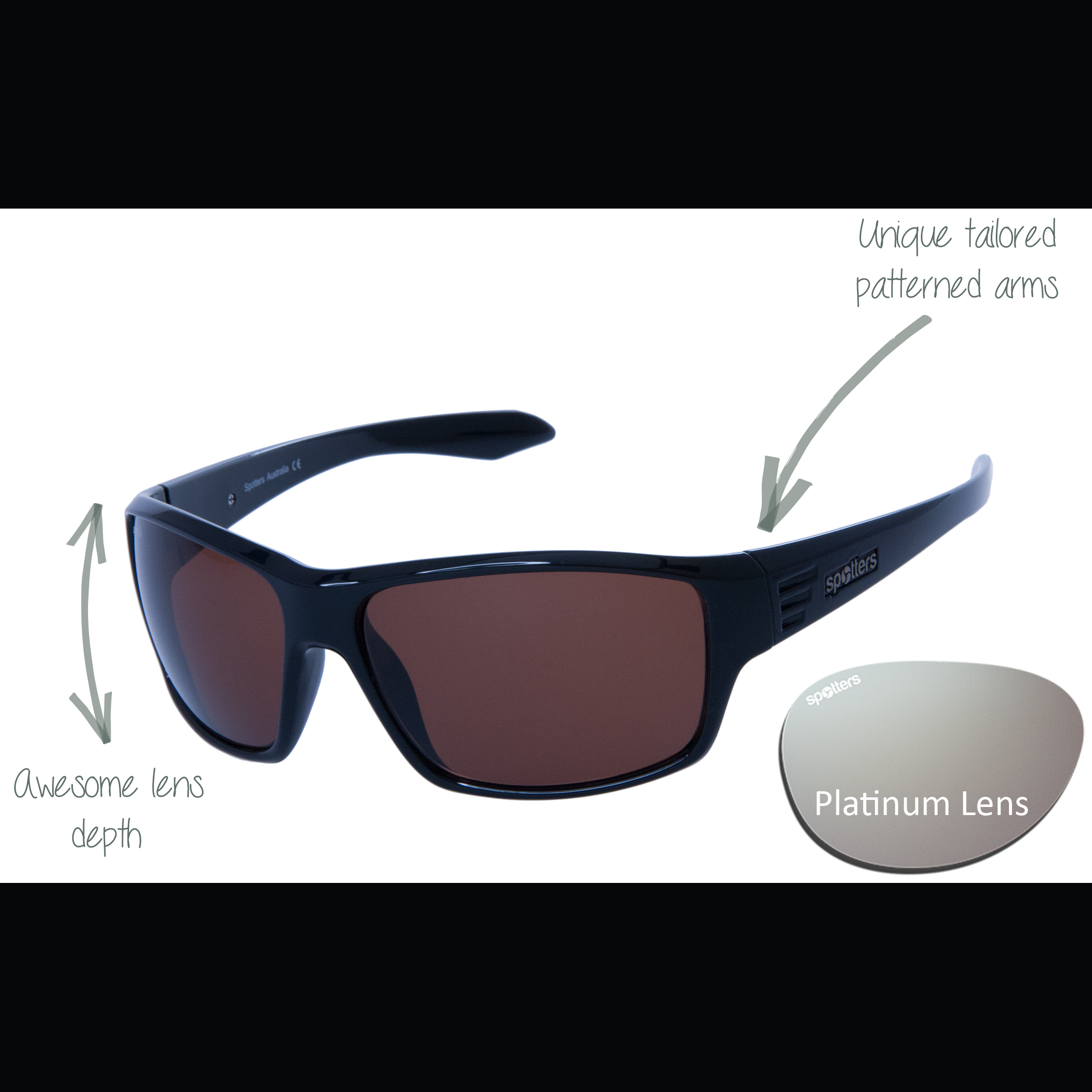 073bc4d9be57 Spotters Sunglasses – Blaze – Gloss Black Frame with Platinum Mirror Lens