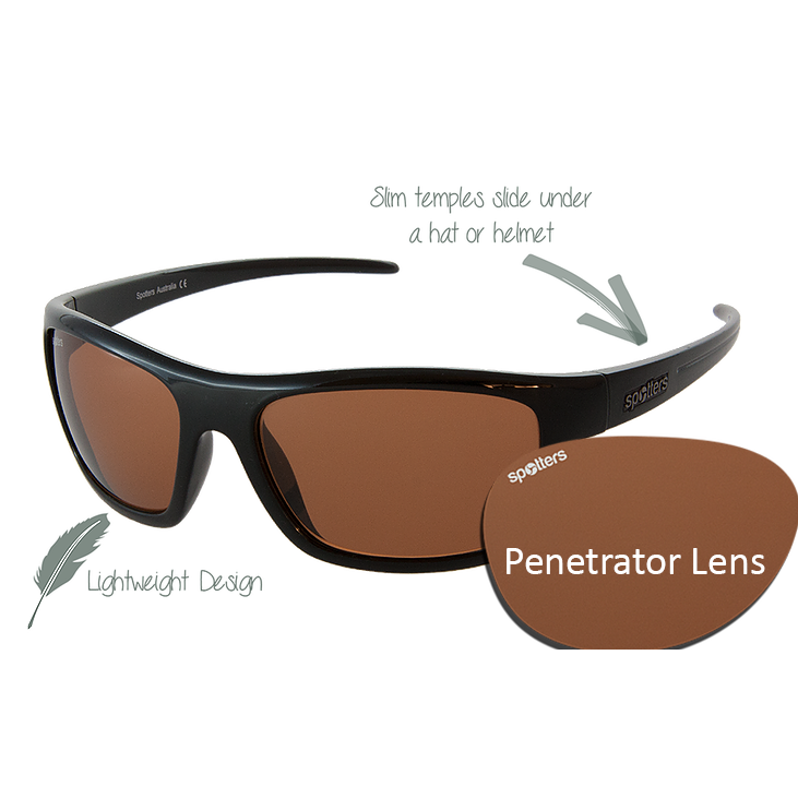 c014369488 Spotters Sunglasses - Bolt - Gloss Black Frame with Penetrator Lens ...