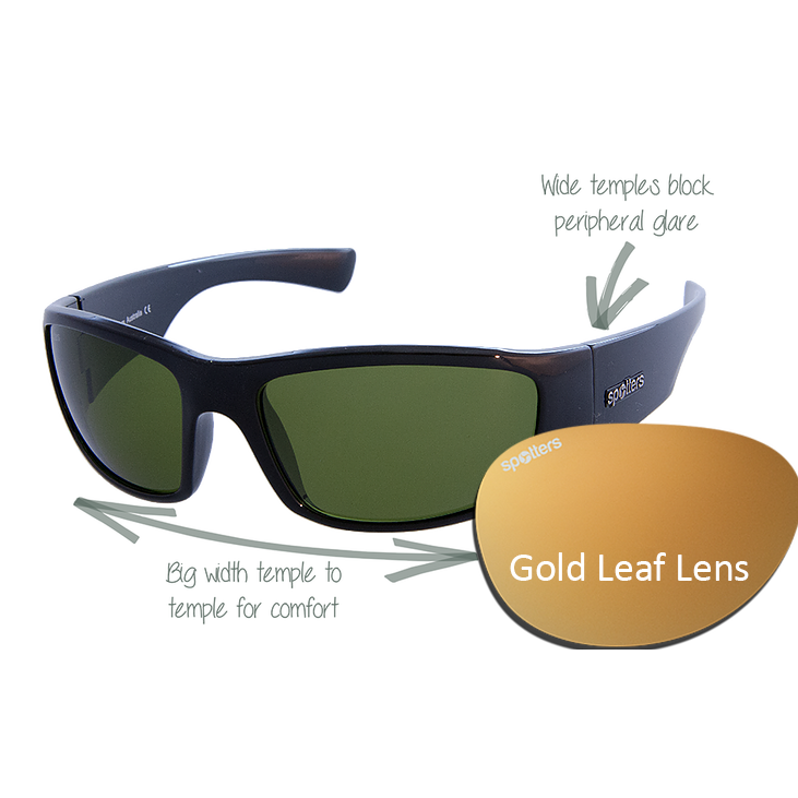 9400a8de1b Spotters Sunglasses – Coyote + – Gloss Black Frame with Gold Leaf Mirror  Lens