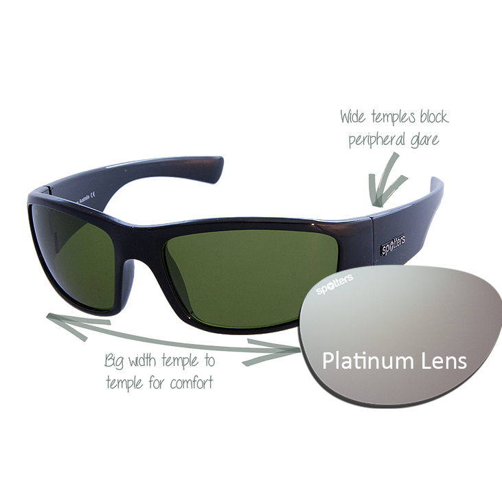 52e1e324ccd5 Spotters Sunglasses – Coyote + – Gloss Black Frame with Platinum Mirror Lens