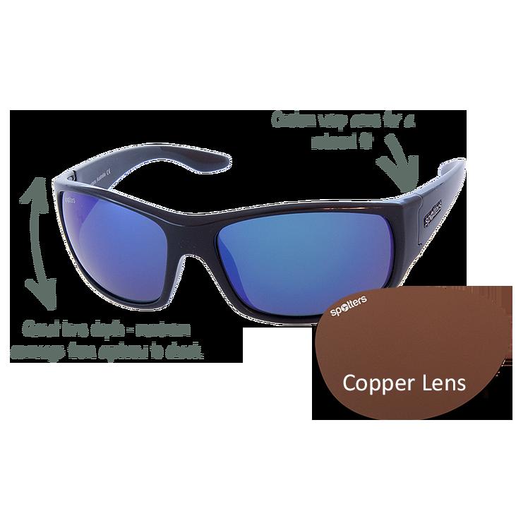 6e0b180765 Spotters Sunglasses – Cruiz – Gloss Black Frame with Copper CR-39 Lens
