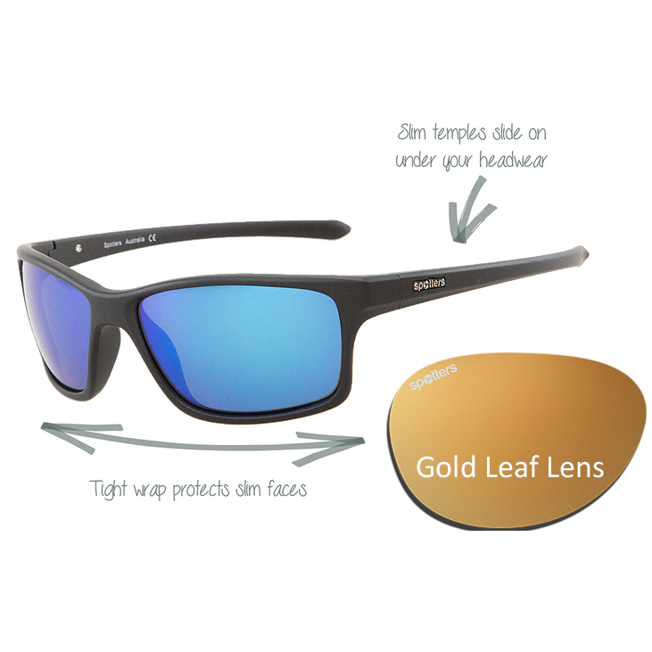 ccd9aed4cdda Spotters Sunglasses – Grit Junior – Gloss Black Frame with Gold Leaf Mirror  Lens