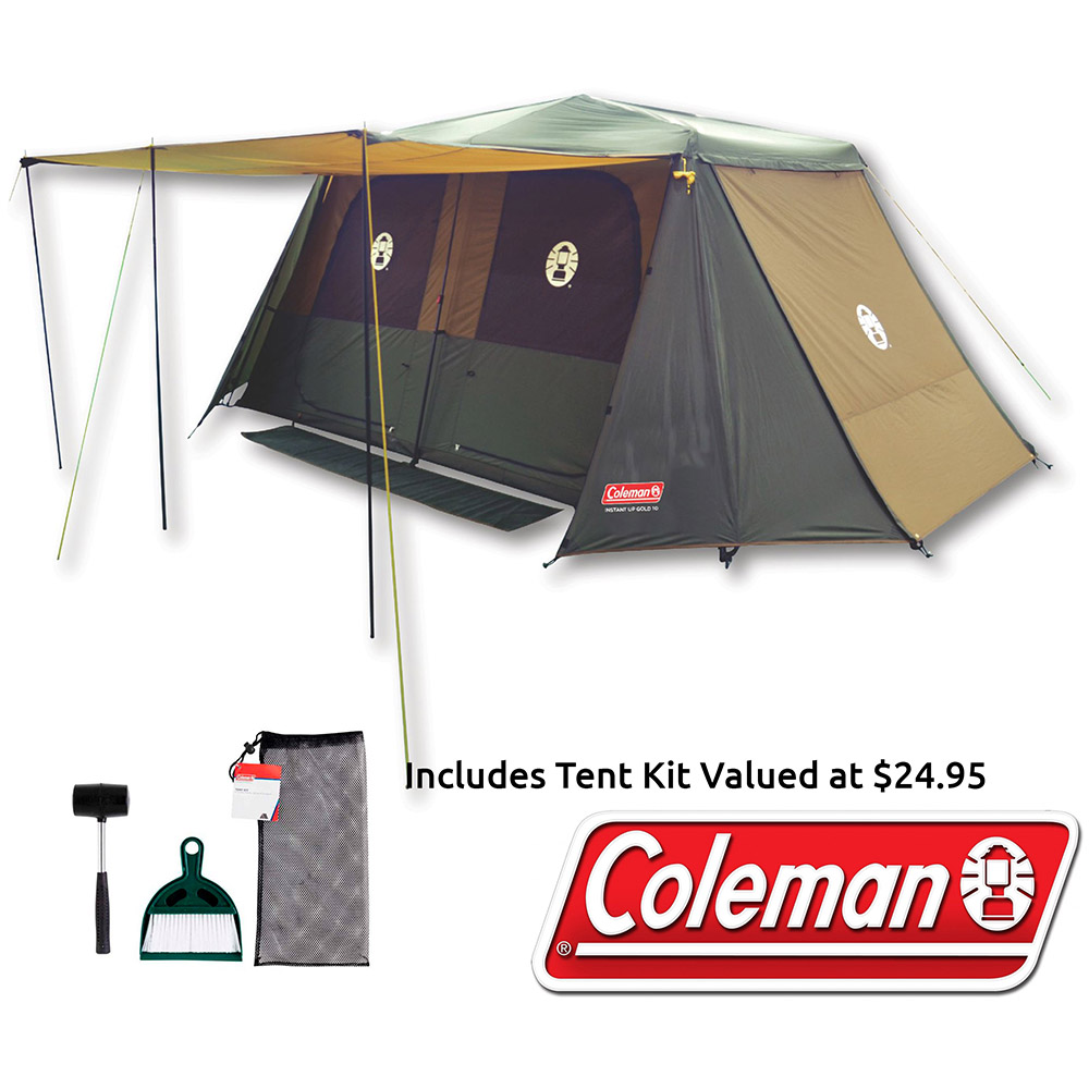 Coleman Instant Up Gold Series 10P Tent - Includes Free Tent Kit