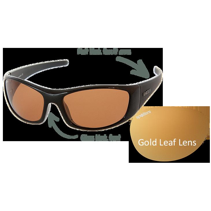 3e2057f27da3 Spotters Sunglasses – Pivot – Gloss Matt Black Frame with Gold Leaf Mirror  Lens