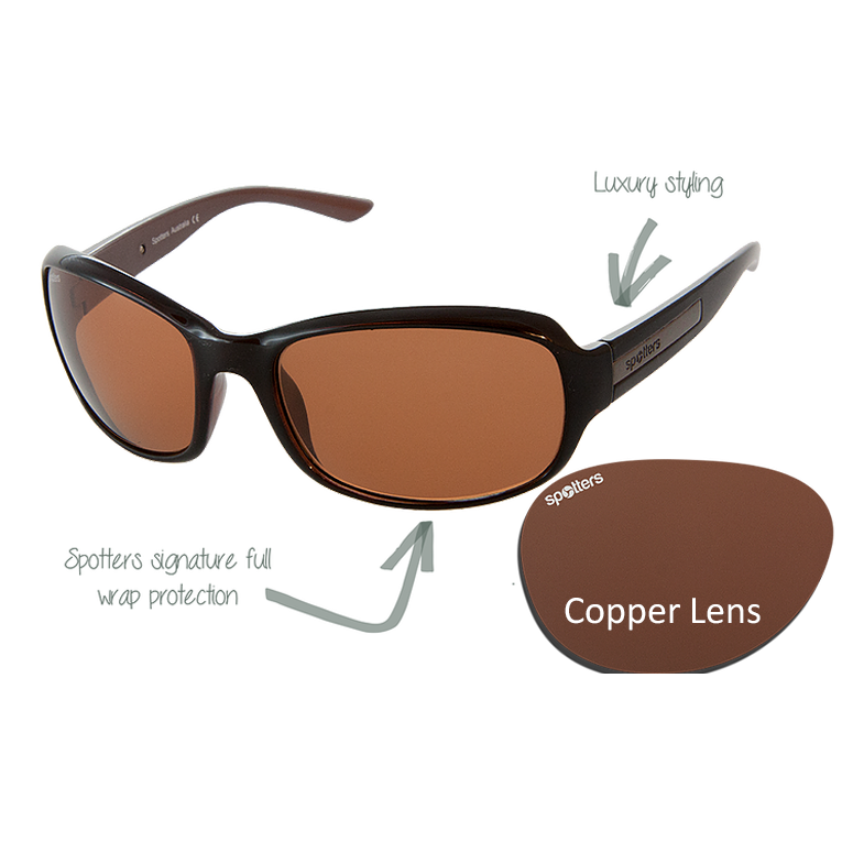 c62f329882 Spotters Sunglasses – Ruby – Gloss Black Frame with Copper CR-39 Lens
